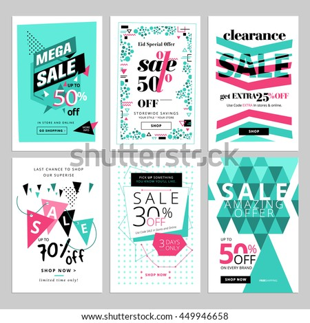 Social media sale banners collection. Vector illustrations for website and mobile website social media banners, posters, email and newsletter designs, ads, promotional material.