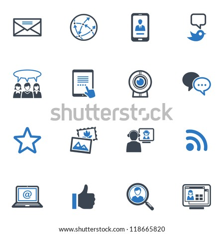 Social Media Set 1 - Blue Series - stock vector