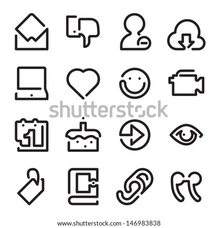 Social Media Set 2 - One Line Icons  - stock vector