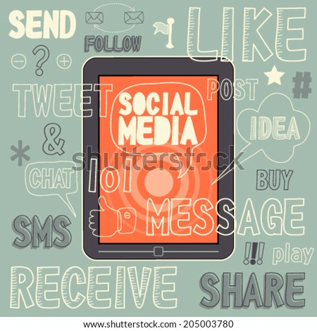 Social Media sign and symbol Hand drawn vector illustration unusual icon set. Easy editable for Your design. - stock vector