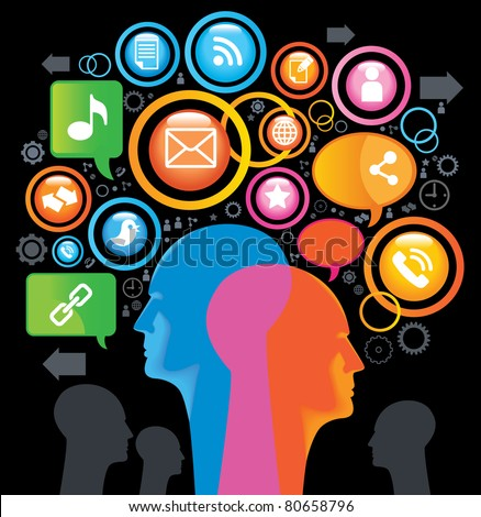 Social-Media-SING.The development of global communications. Communication in mobile and internet networks - stock vector