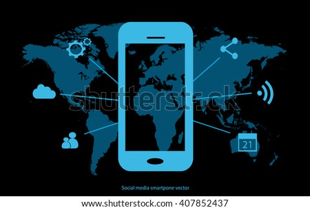 Social media smart phone icon with world map vector interface