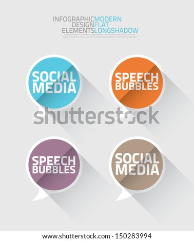 Social media speech bubbles long shadow vector - stock vector