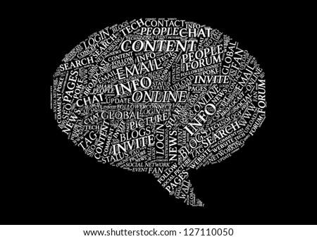 Social Media Tag Cloud Typographic Illustration - Speech Bubble - stock vector