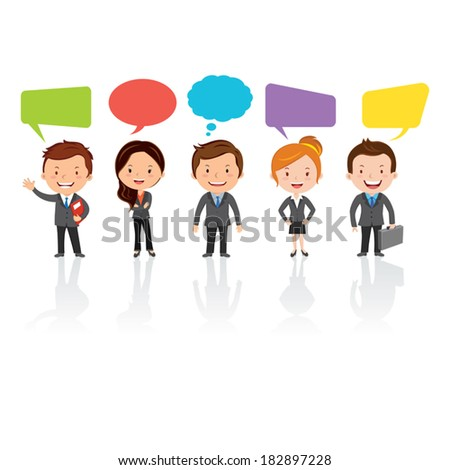 Social Media team. Group of International business people with chat or thinking bubbles. - stock vector