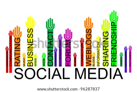 SOCIAL MEDIA text bar-code with hands, vector - stock vector