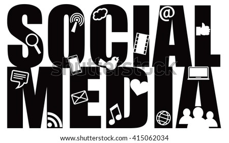 Social Media Text Outline with Symbols Black Isolated on White Background Vector Illustration - stock vector