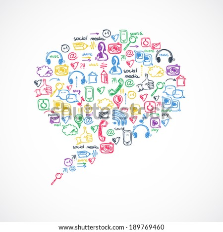 Social media texture in talk bubble shape  - stock vector