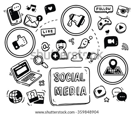 Social media themed doodle isolated on white background - stock vector