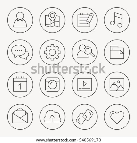 Social Media thin line icon set