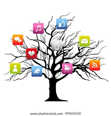 social media tree - stock vector