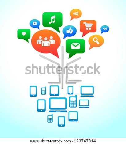 Social media. Tree Forum chat bubbles. Vector icons - stock vector