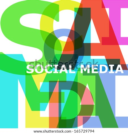 Social media - vector abstract color text - stock vector