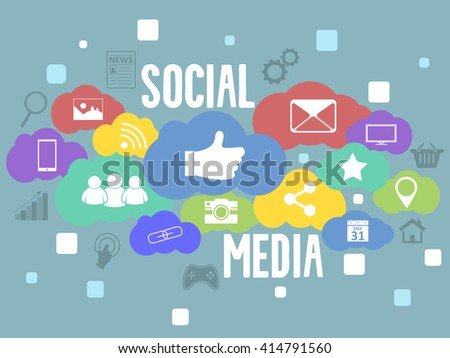 Social media vector background with colorful icons and square elements.