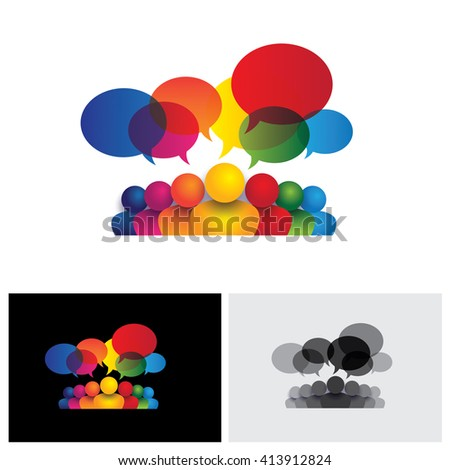 social media vector icon of communication or staff meeting or kids talking. this also represents people conference, social media interaction & engagement, children, employee discussions, leadership - stock vector