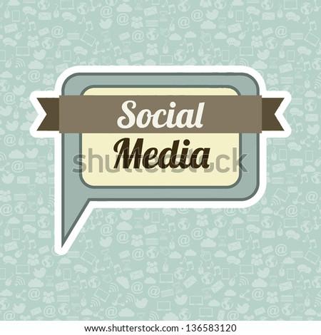 social media vintage over blue background. vector illustration - stock vector