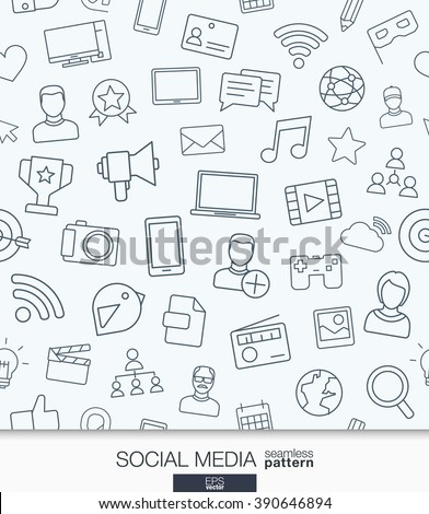 Social Media wallpaper. Network communication seamless pattern. Tiling textures with thin line web icons set. Vector illustration. Abstract background for mobile app, website, presentation. - stock vector