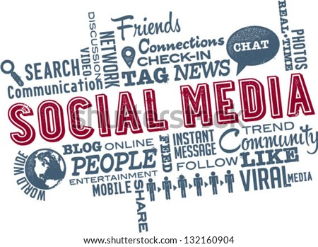 Social Media Word and Icon Cloud - stock vector