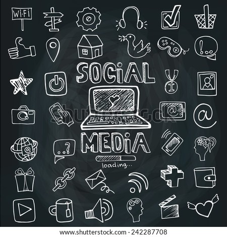 Social Media Word and Icons in Doodle sketchy in background.Hand drawing set.Colored outline vector. - stock vector