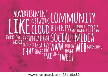 Social media word cloud with pink blurry background - stock vector