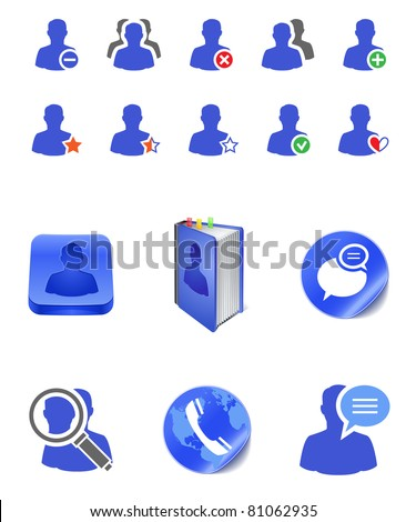 social member user icons - stock vector