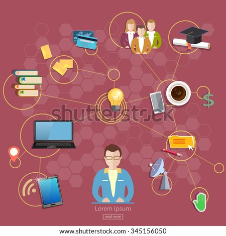 Social network and teamwork concept communication and learning education - stock vector
