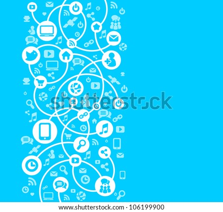 Social Network background of the icons vector - stock vector