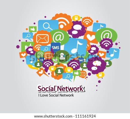 social network bulb - stock vector