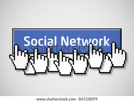 Social network button 2 - stock vector