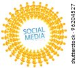 social network color abstract logo. vector illustration of social media. - stock vector