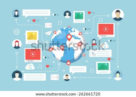 Social Network, communication. Flat design style modern vector illustration. - stock vector