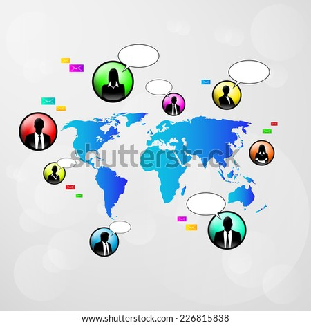 social network communication icons world map color vector illustration - stock vector