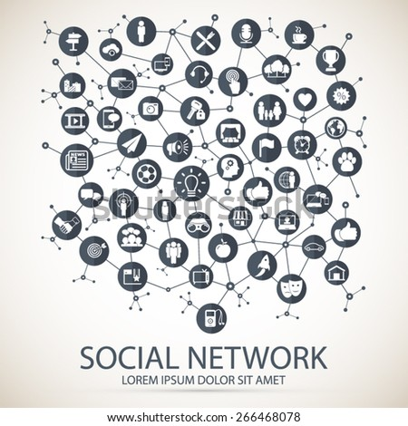 Social network - communication in global computer networks - stock vector