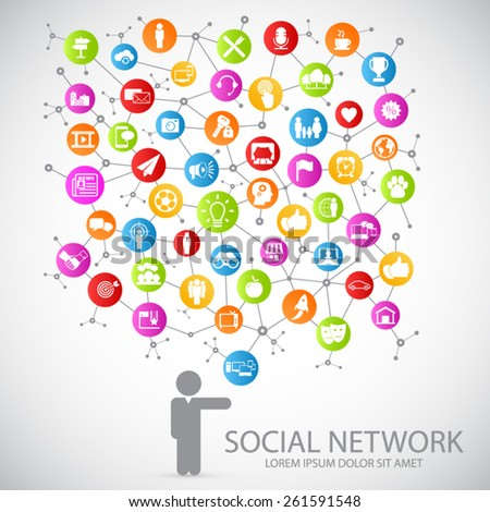 Social network -  communication in global computer networks.Eps10 Vector.  - stock vector