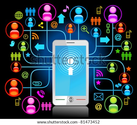 social network, communication in the global computer networks. - stock vector
