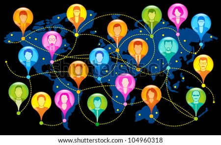 social network, communication in the global computer networks. File is saved in AI10 EPS version. This illustration contains a transparency - stock vector