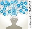 social network, communication in the global computer networks. silhouette of a human head with an interface icons. - stock photo