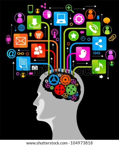 social network, communication in the global computer networks. silhouette of a human head with an interface icons. File is saved in AI10 EPS version. This illustration contains a transparency - stock vector