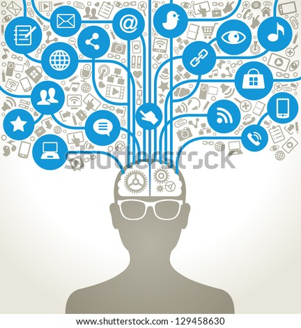 social network, communication in the global computer networks. silhouette of a human head with an interface icons. - stock vector