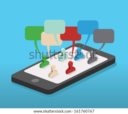 Social network communication on mobile phone. Isolated vector illustration.