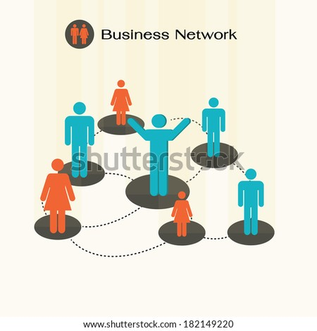 social network community team, business network. - stock vector