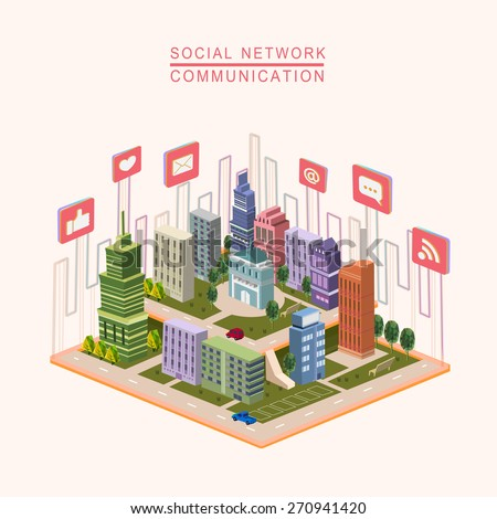 social network concept 3d isometric infographic with city scene - stock vector