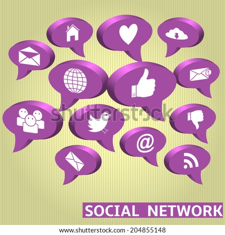 Social network concept icons on striped yellow background. Vector illustration.
