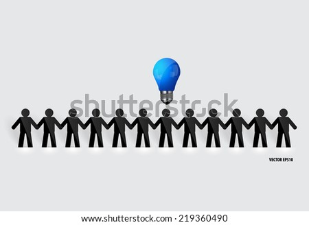 Social Network concept : People cut out of paper with light bulb, vector illustration. - stock vector