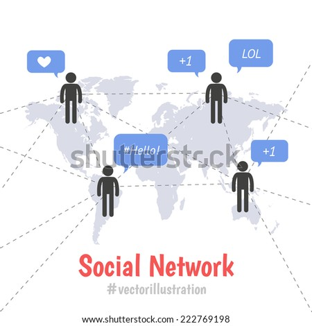 Social network concept. Pictogram people on world map connection by line. Speech bubbles with text and tags - stock vector