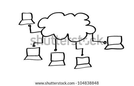 Social Network Concept Vector Cartoon - stock vector