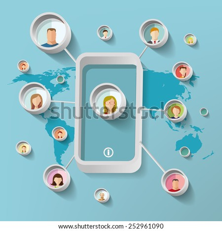 Social network concept vector illustration with people faces. - stock vector