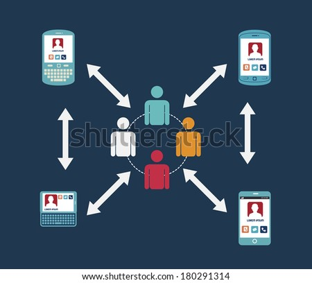 social network design over blue background vector illustration   - stock vector