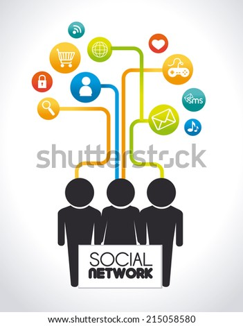 Social network design over white background, vector illustration
