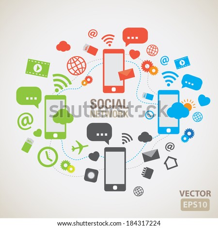 Social network element and icons vector - stock vector